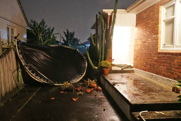 Severe weather in Mt Roskill sent trampolines flying. Photo / Nick Choi