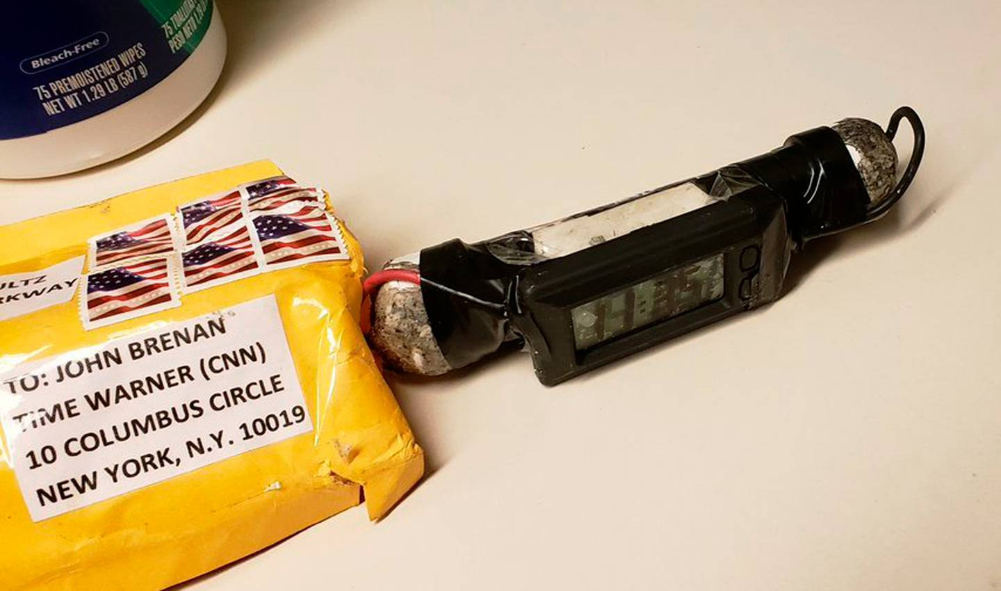This explosive device was delivered to CNN's bureau in New York. — Photograph: Associated Press.