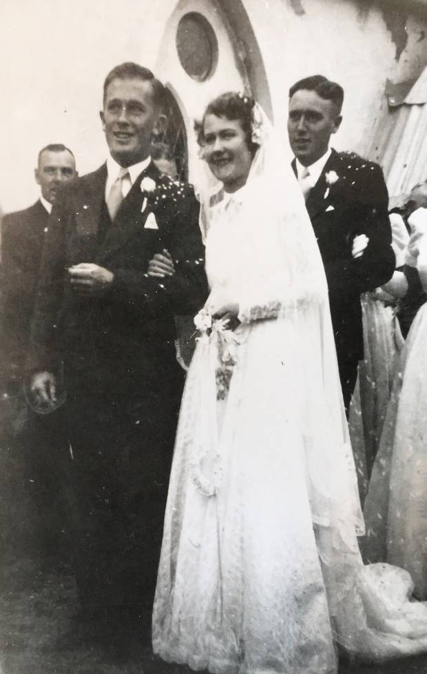 Helen and Bob's wedding in 1952. They moved to a farm near Balclutha. Photo / Macfie Family