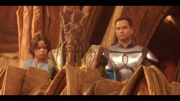 Daniel Logan (left) and Temuera Morrison in Star Wars Episode II. Logan played the young Boba Fett, Morrison is father Jango. Photo / Supplied