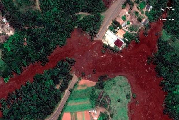 A satellite image shows mud flooding an area days after the dam collapsed, near Brumadinho, Brazil. Photo / AP