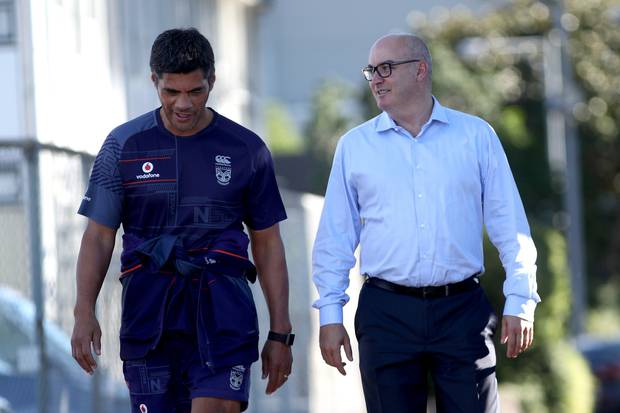 Warriors CEO Cameron George and head coach Stephen Kearney have been slammed by Peter Peters. Photo / Getty