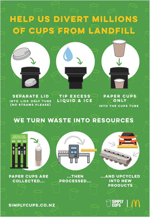 Used cups would be shredded and recycled into fibre pulp and used to make something else. Infographic / Supplied