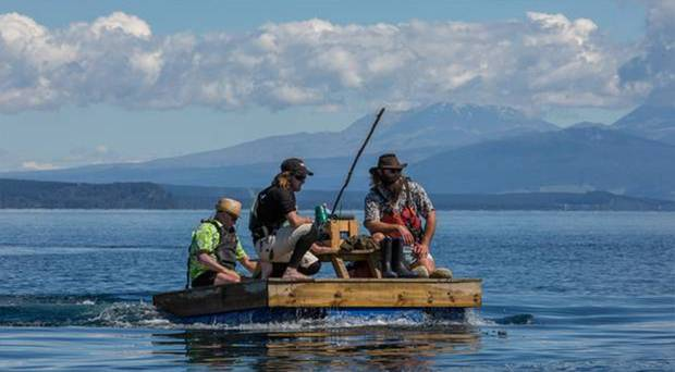 The homemade contraption made it across 41km of lake. Photo / Taupo & Turangi Weekender
