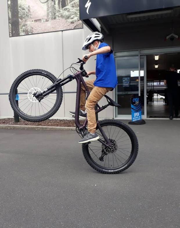 Make-a-Wish New Zealand and Rotorua Cyclezone made Thorin Nelson's wish for a mountain bike come true. Photo / Supplied