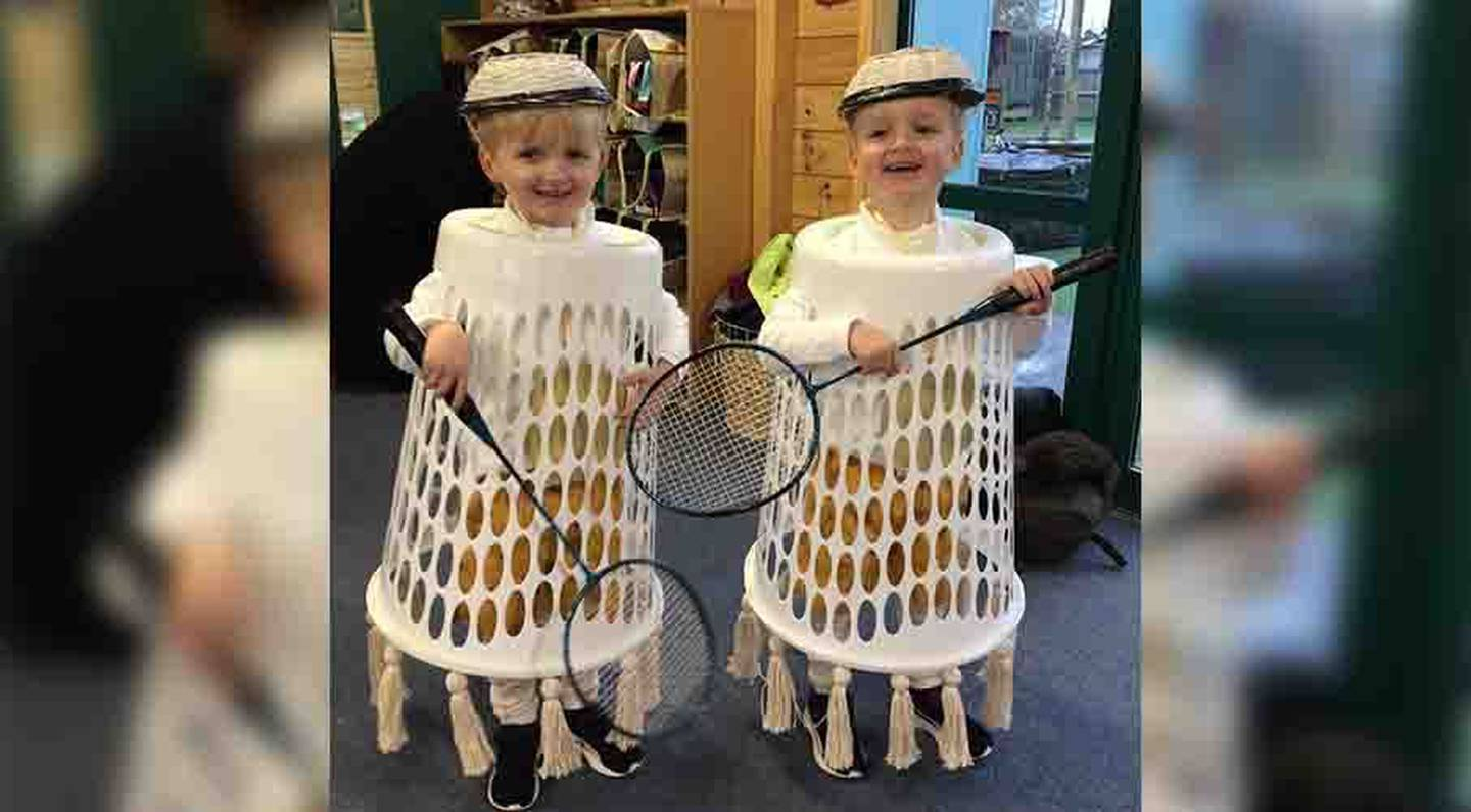Harry and Jake James, both 3, were stoked with their costume after their father Andy dressed them up as Badminton shuttlecocks. Photo / Andy James