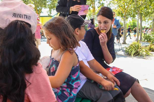 Ardern tried out a Flaxmere boy's corn chips. Photo / Paul Taylor