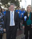 Prime Minister Bill English, his wife, Dr Mary English, and Auckland Central MP Nikki Kaye, during their walkabout around Viaduct Basin in Auckland. Photo / Mark Mitchell
