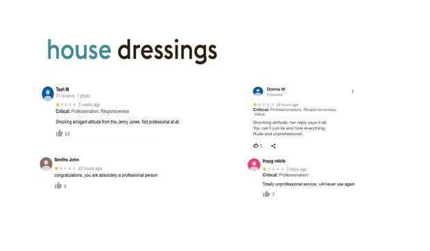 Fake social media comments on the House Dressings business. Photo / supplied