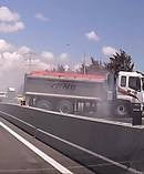 The moment a truck jack-knifes on the Southern Motorway. Photo / via Peter Smith video