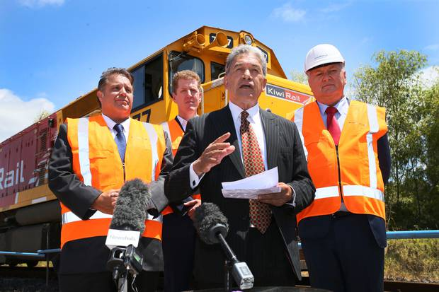KiwiRail chairman Greg Miller (left), acting chief executive Todd Moyle, Deputy PM Winston Peters and Regional Development Minister Shane Jones. 31 January 2018 Northern Advocate Photo by Tania Whyte