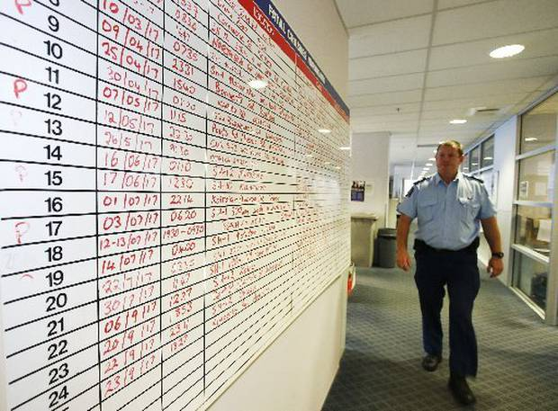 Northland road policing Senior Sergeant Ian Row with a list of last year's Northland road fatalities. Photo / File