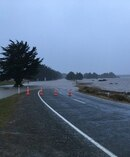 Flooding at All Day Bay Oamaru. Picture /Emma Strange