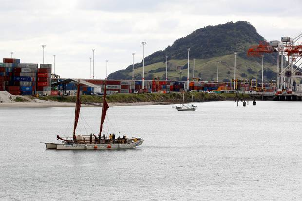 The double-hulled sailing canoe started its voyage on August 20 and now the sailors are resting in Tauranga for a few days. Photo / Andrew Warner