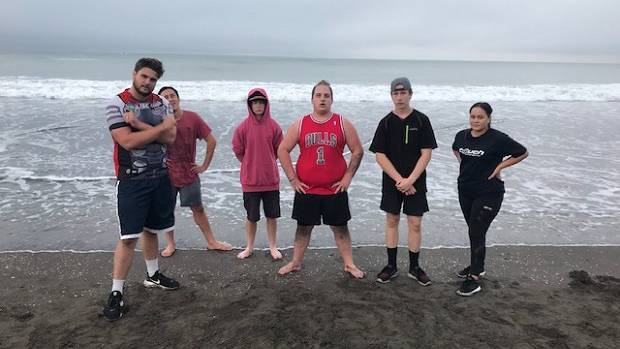Using Castlecliff Beach for training are (from left) specialist case worker Jesse Hamilton-Hall, Wiremu Tamehana, Xavier Thomson, Braxton Nikora-Whale, Amos Goldsack and Tala Thompson.