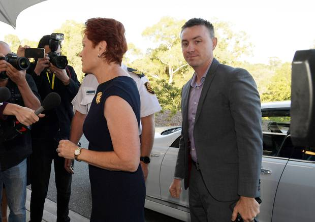 Senator Pauline Hanson and James Ashby, right, arrive at doors at Parliament House on February 14, 2019 in Canberra, Australia. Photo / Getty Images