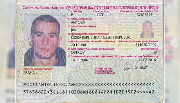 The false passport of Karel Sroubek in the name of Jan Antolik. Photo / Supplied