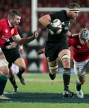 All Blacks captain Kieran Read on the charge in the first test against the Lions. Photo / Alan Gibson
