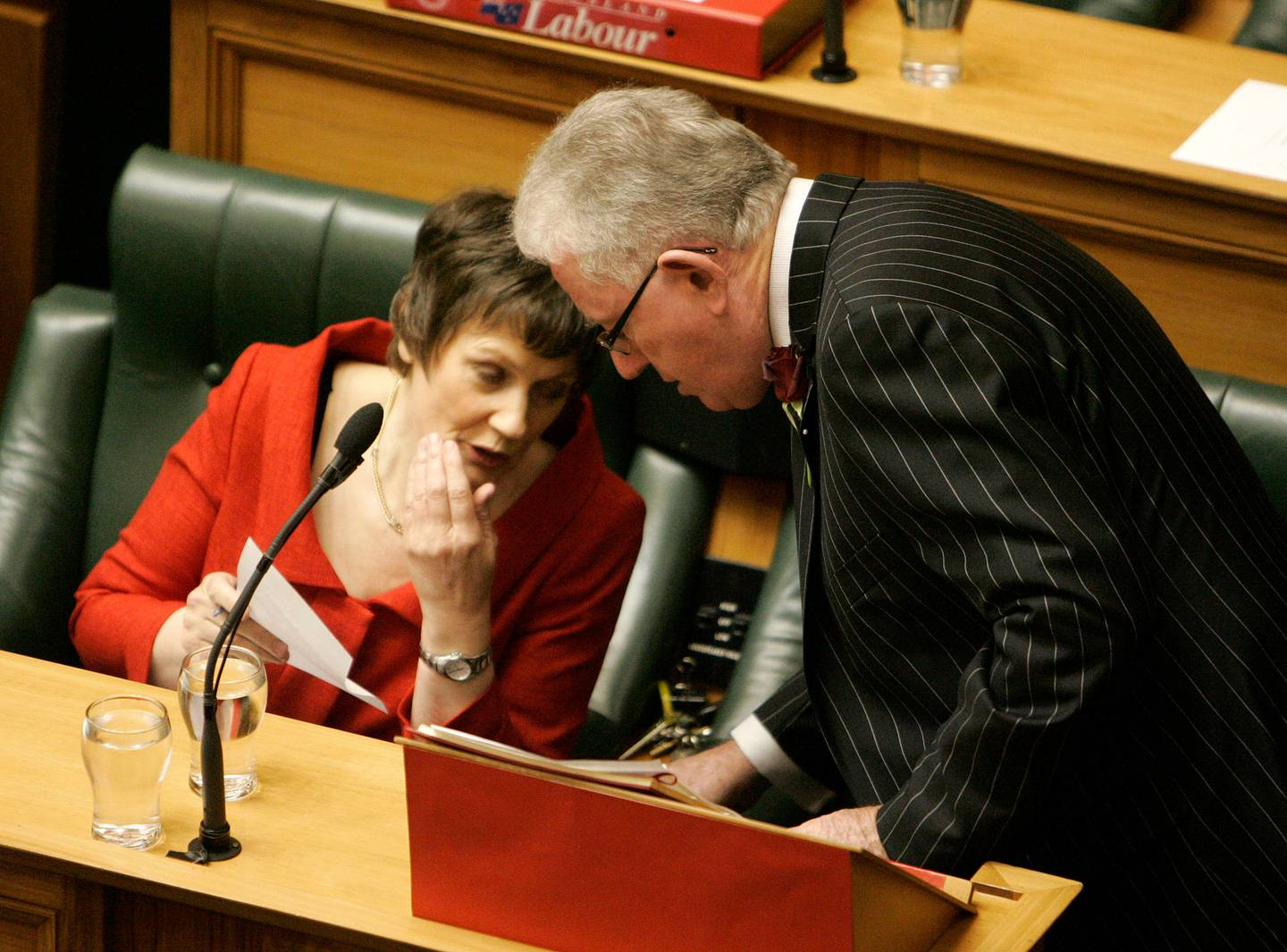 Helen Clark and Michael Cullen in May 2008 shortly before he delivered his ninth and final Budget. Photo / Tim Hales, NZPA