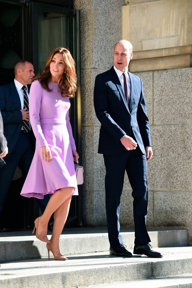 Britain's Prince William, right and Kate, the Duchess of Cambridge leave after attending the first Global Ministerial Mental Health Summit in London. Photo / AP