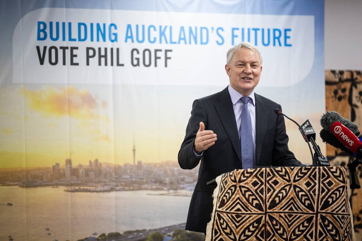 Phil Goff tells supporters it's a tight-run race with John Tamihere for the mayoralty