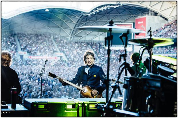 Paul McCartney on stage during his OneOnOne tour 2017