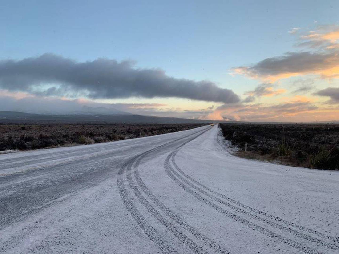 State Highway 1 Desert Rd is closed this morning between Rangipo and Waiouru. Photo / NZTA