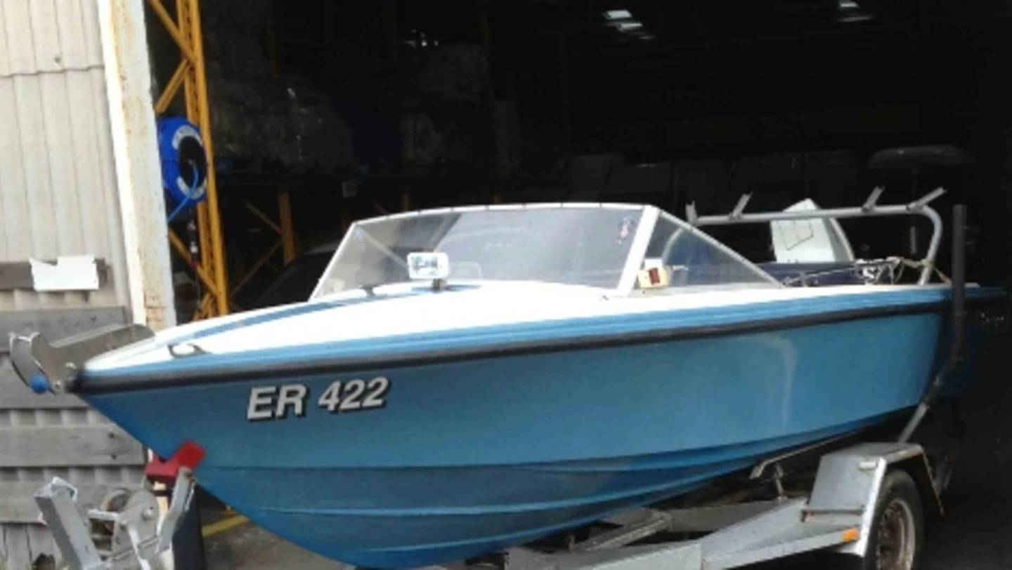 The boat located during the search for missing Frankston mother and son Felicity Loveday and Adrian Meneveau.