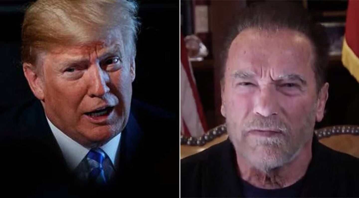 """Arnold Schwarzenegger has launched an attack on Donald Trump and the Capitol Hill siege, labelling him the """"worst president ever"""". Photo / Getty / Twitter"""