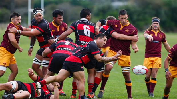 Taihape halfback Ra Broughton fires off a pass in his team's win over Kaierau at the Country Club.