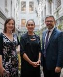 Minster for Women Julie Anne Genter (left) and Workplace Relations Minister Iain Lees-Galloway (right) with Traci Houpapa, who will facilitate the Joint Working Group on Pay Equity. Photo / Supplied