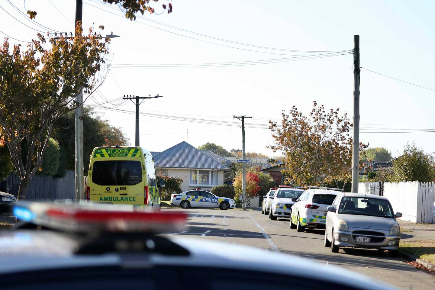 Police at the scene of the incident. Photo / George Heard