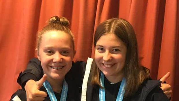 Rotorua swimmers Nikita Pola (left) and Lina Stahlhut won medals at the New Zealand Age Group Swimming Championships. Photo / Supplied