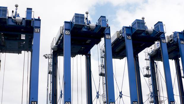 Auckland's new automated straddle carriers can stack containers four high. Photo / Leon Menzies
