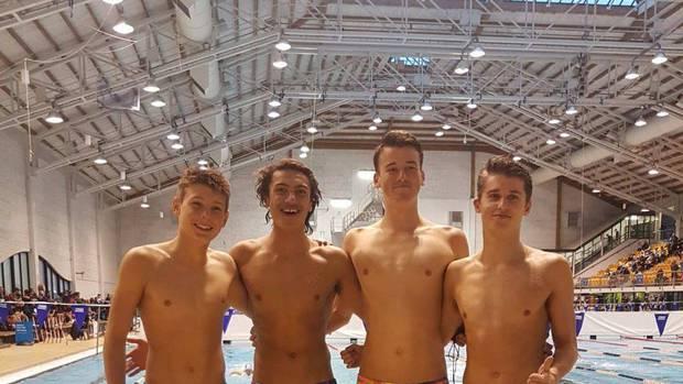 Swim Rotorua's Theo Harvey (left), Rocco Marsh, David Boles and James Baldwin at the New Zealand Secondary School Swimming Championships. Photo / Supplied
