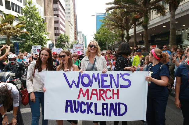 Jacinda Ardern, before she was Labour leader, Lizzie Marvelly and Alison Mau at the head of the Women against Trump demonstration in Auckland in January 2017. Photo / Doug Sherring