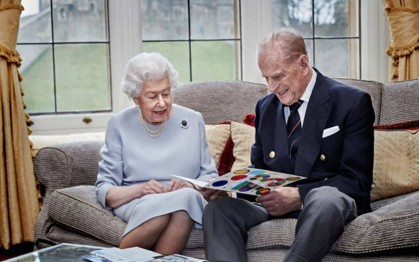 The official portrait of the Queen and Duke Of Edinburgh for their 73rd wedding anniversary in November last year.
