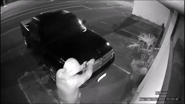 The arsonist pours petrol over the vehicle before setting it on fire and then explodes in his face. Image/Waikato police