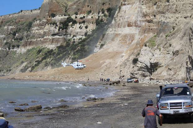 A man who was caught in a landslide near Cape Kidnappers has spoken for the first time about the incident which injured him and a woman. Photo / Supplied