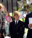 The Prince of Wales with Prince William and Prince Harry outside Westminster Abbey at the funeral of Diana. Photo / Getty
