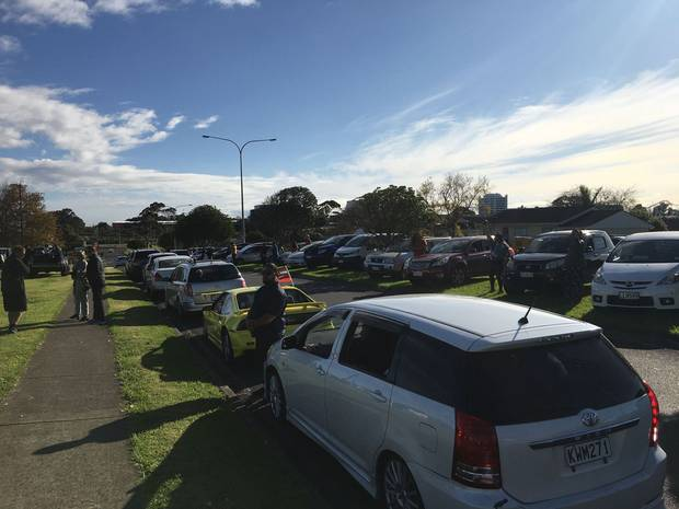 Cars overflow from Destiny Church's carpark this morning. Photo / Dubby Henry