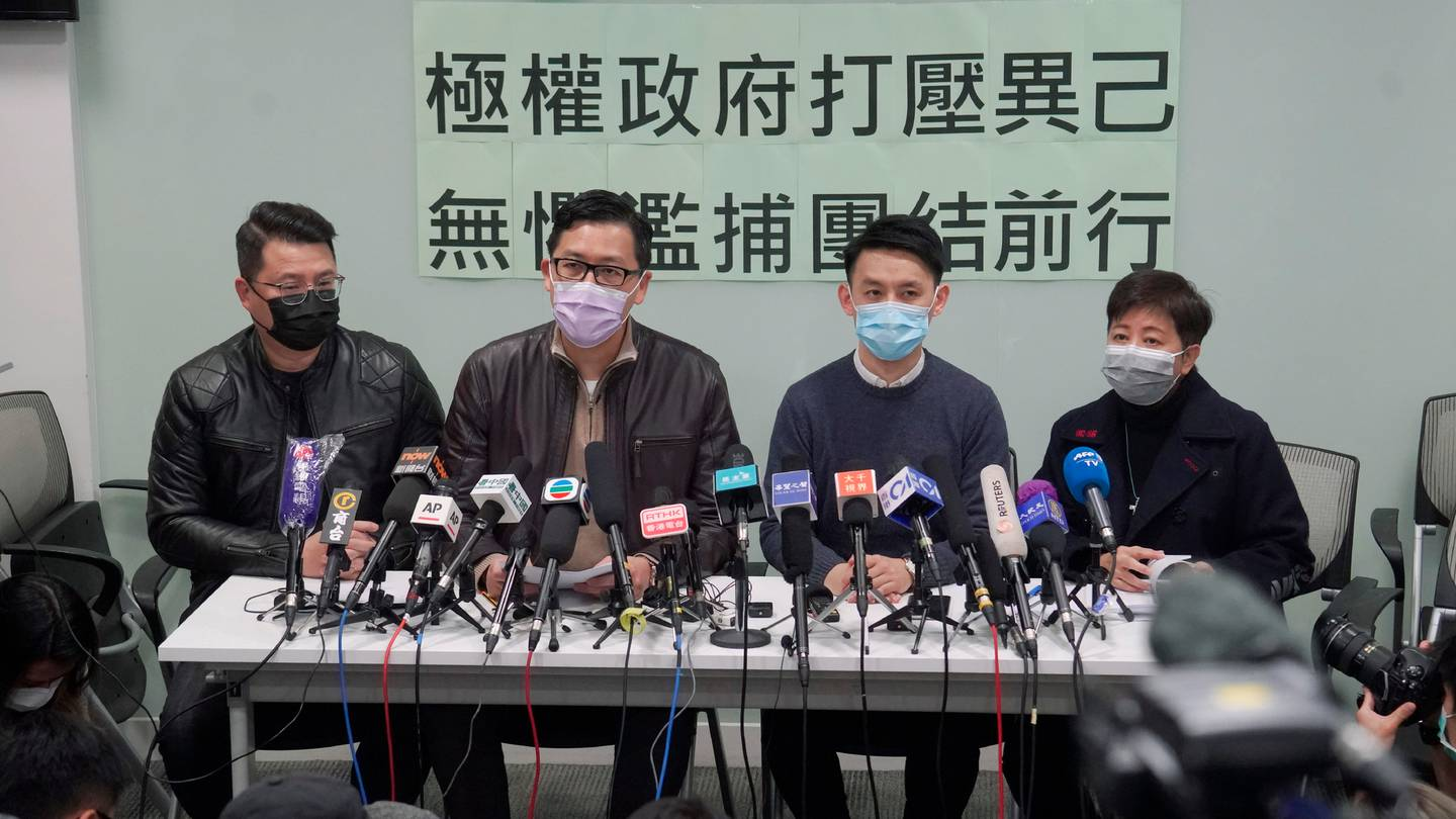 Former Hong Kong Democratic Party legislators attend a news conference after being released on bail on January 8. Photo / AP