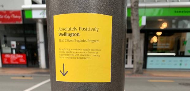 Stickers have been plastered on all broken signals across the city. Photo / Harry Berger.