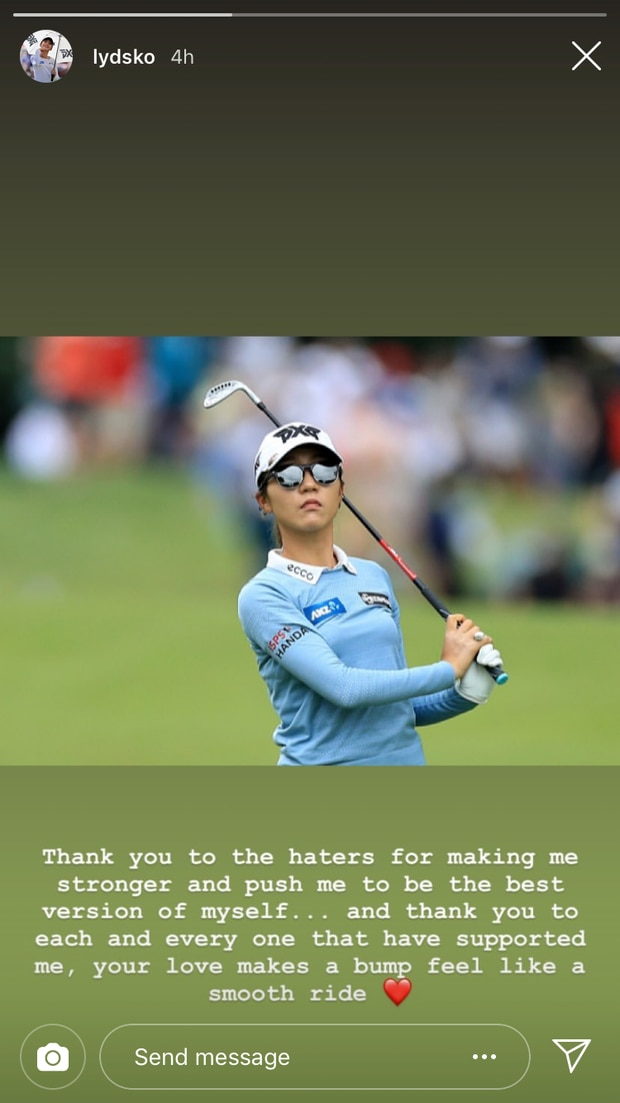Lydia Ko's Instagram story. Photo / Instagram