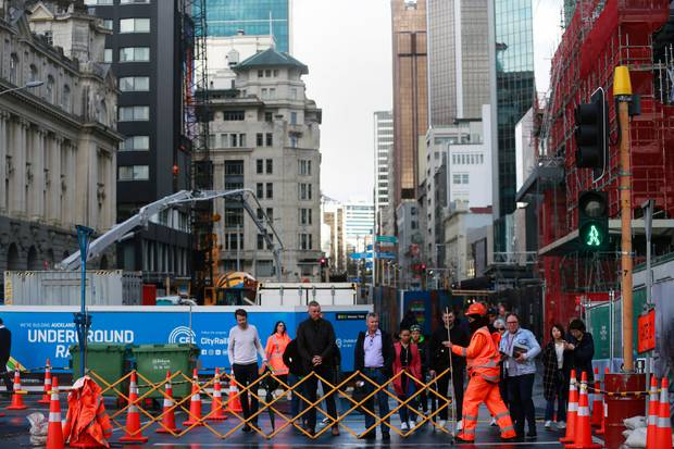 Disruption from work on the City Rail Link is moving up Albert St to the intersection with Wellesley St. Photo / NZ Herald