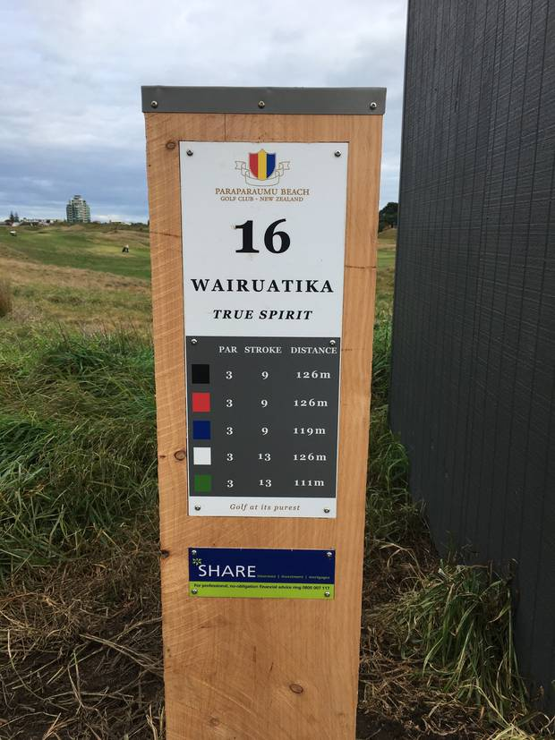 The 16th hole signpost.