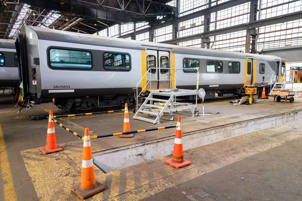An exterior look at one of the new carriages to be used in the Hamilton to Auckland commuter rail service which will begin on August 3. Photo / Waikato Regional Council