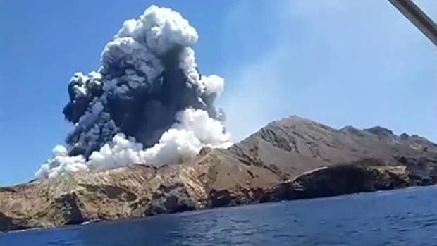 Still from video shot from a tourist boat next to White Island jsut as the volcano erupted about 2:15pm 09 December 2019 picture supplied credit: Allessandro Kauffman https://www.instagram