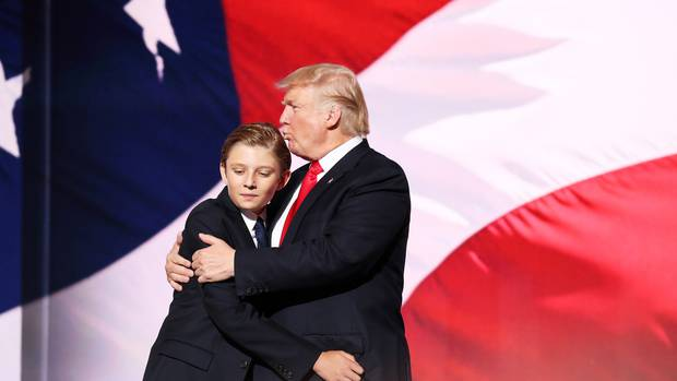 Donald Trump embraces his son Barron Trump in 2016. Photo / Getty Images