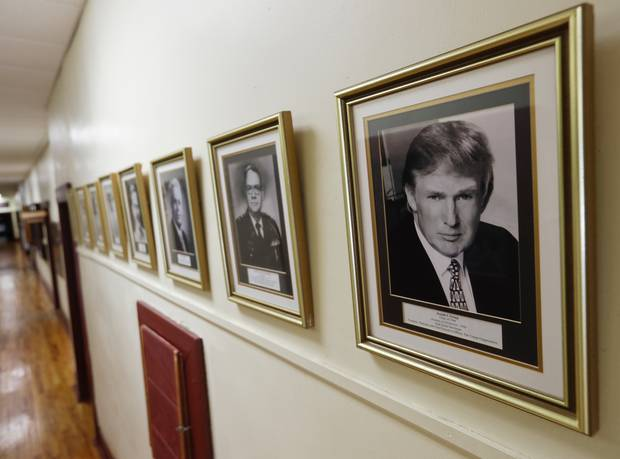 A portrait of Donald Trump hangs on the wall at the New York Military Academy, in Cornwall-on-Hudson. Photo / AP